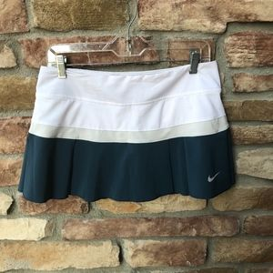 NIKE Dri-fit Blue and White Pleated Tennis Skirt
